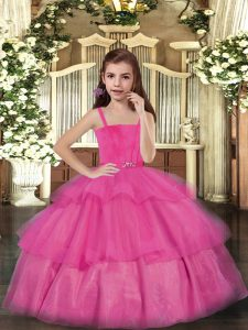Hot Pink Sleeveless Tulle Lace Up Little Girl Pageant Dress for Party and Sweet 16 and Wedding Party