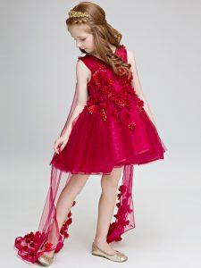 Graceful Sleeveless Watteau Train Hand Made Flower Lace Up Flower Girl Dresses