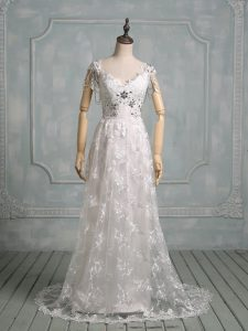 Lace V-neck Cap Sleeves Brush Train Side Zipper Beading and Lace Bridal Gown in White
