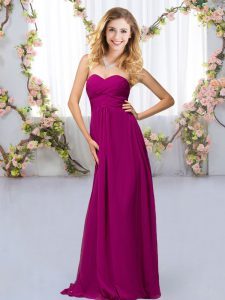 Graceful Fuchsia Empire Sweetheart Sleeveless Chiffon Floor Length Criss Cross Beading Bridesmaid Gown