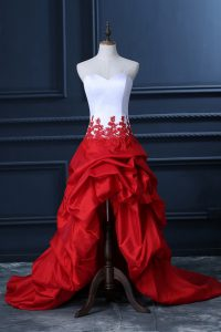 Taffeta Sweetheart Sleeveless Lace Up Lace and Appliques and Pick Ups Prom Dresses in White And Red