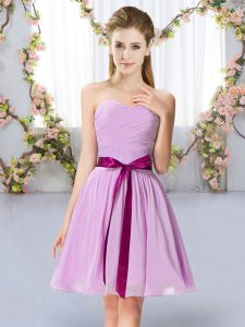 Modest Sweetheart Sleeveless Chiffon Quinceanera Court Dresses Belt Lace Up
