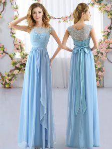 Empire Court Dresses for Sweet 16 Light Blue Scoop Chiffon Cap Sleeves Floor Length Side Zipper