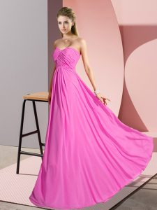 Rose Pink Sleeveless Floor Length Ruching Lace Up Prom Gown