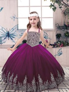 Eggplant Purple Ball Gowns Tulle Straps Sleeveless Beading and Embroidery Floor Length Lace Up Kids Formal Wear