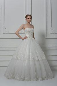 White Tulle Lace Up Wedding Dresses Sleeveless Floor Length Beading and Lace