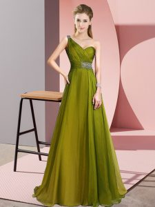 Olive Green Prom Party Dress Chiffon Brush Train Sleeveless Beading