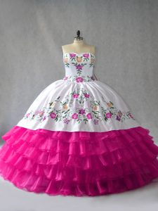 Beautiful Sweetheart Sleeveless Lace Up Quinceanera Dresses Fuchsia Satin and Organza