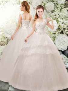 Smart White Lace Up Wedding Dresses Beading and Lace and Hand Made Flower Sleeveless Floor Length