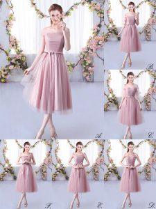 Tea Length Pink Dama Dress Tulle Sleeveless Belt