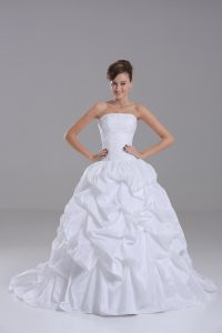 White Bridal Gown Wedding Party with Lace and Pick Ups Strapless Sleeveless Brush Train Lace Up