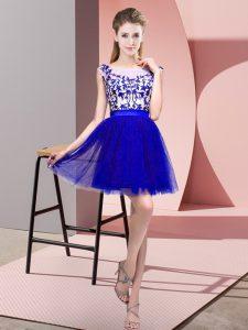 Bateau Sleeveless Wedding Party Dress Mini Length Lace Blue Tulle