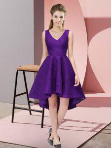 Purple Sleeveless Lace Zipper Vestidos de Damas for Wedding Party