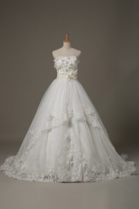 Edgy White Strapless Neckline Lace and Appliques and Hand Made Flower Wedding Gowns Sleeveless Lace Up