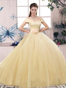 Customized Champagne Tulle Lace Up Off The Shoulder Short Sleeves Floor Length Sweet 16 Dress Lace and Hand Made Flower