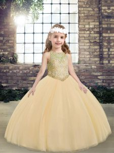 Scoop Sleeveless Tulle Little Girls Pageant Gowns Beading Lace Up