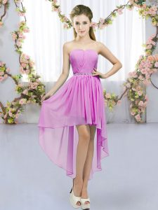 New Style Beading Quinceanera Court of Honor Dress Lilac Lace Up Sleeveless High Low