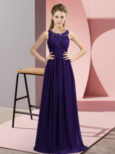 Artistic Purple Zipper Vestidos de Damas Beading and Appliques Sleeveless Floor Length