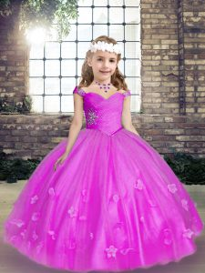 Super Sleeveless Lace Up Floor Length Beading and Hand Made Flower Kids Formal Wear