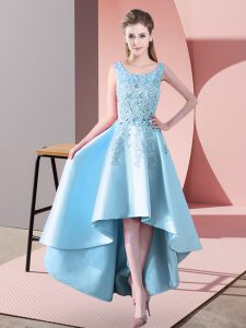 High Low Zipper Dama Dress Aqua Blue for Wedding Party with Lace