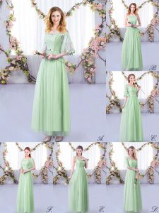 Empire Bridesmaids Dress Apple Green Off The Shoulder Tulle Half Sleeves Floor Length Side Zipper