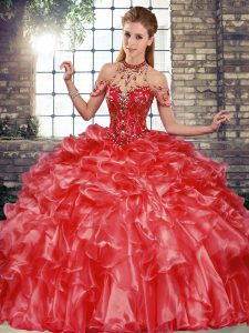 New Style Sleeveless Lace Up Floor Length Beading and Ruffles Quinceanera Gown