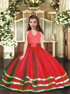 Floor Length Red Pageant Gowns Tulle Sleeveless Ruffled Layers