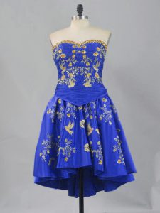Royal Blue Sleeveless Mini Length Embroidery Lace Up Prom Dress