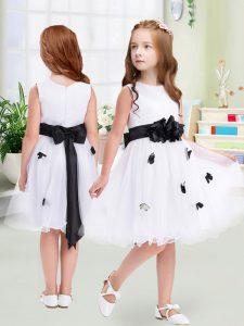 White Empire Tulle Scoop Sleeveless Appliques and Hand Made Flower Knee Length Zipper Toddler Flower Girl Dress