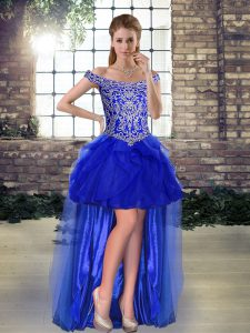 Low Price Royal Blue Tulle Lace Up Off The Shoulder Sleeveless High Low Prom Dress Beading and Ruffles