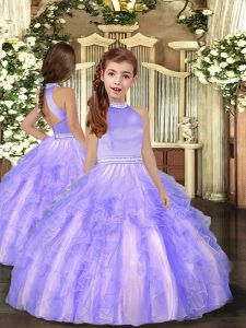 Lovely Tulle High-neck Sleeveless Backless Beading and Ruffles Girls Pageant Dresses in Lavender