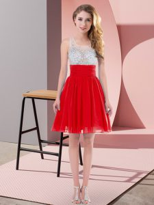 Empire Dama Dress for Quinceanera Red Scoop Chiffon Sleeveless Mini Length Side Zipper