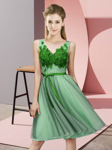 Green Sleeveless Tulle Lace Up Bridesmaid Gown for Wedding Party