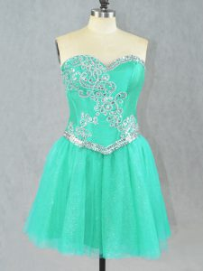Dazzling Turquoise A-line Sweetheart Sleeveless Tulle Mini Length Lace Up Beading