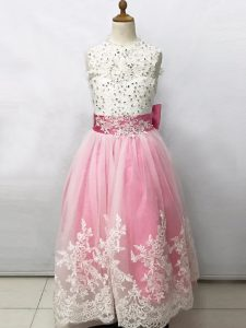 Charming Pink And White Scoop Lace Up Beading and Lace and Bowknot Flower Girl Dress Sleeveless