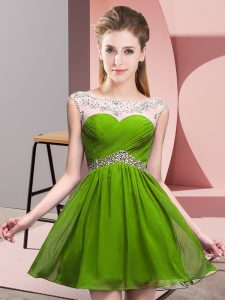 Pretty Olive Green Sleeveless Chiffon Backless Prom Party Dress for Prom and Party