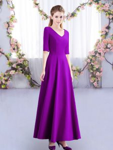 Simple Eggplant Purple Court Dresses for Sweet 16 Wedding Party with Ruching V-neck Half Sleeves Zipper