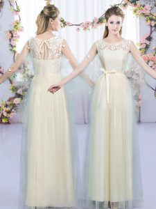 Exceptional Floor Length Champagne Wedding Guest Dresses Scoop Sleeveless Lace Up