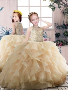 Exquisite Champagne Zipper Scoop Beading and Ruffles Little Girls Pageant Dress Wholesale Organza Sleeveless