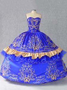 New Arrival Royal Blue Lace Up Vestidos de Quinceanera Embroidery and Bowknot Sleeveless Floor Length