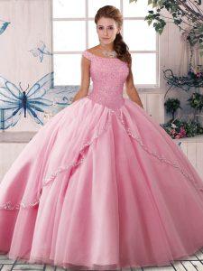 Customized Rose Pink Sleeveless Brush Train Beading Vestidos de Quinceanera