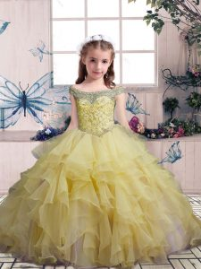 Glorious Sleeveless Beading and Ruffles Lace Up Pageant Gowns For Girls