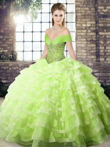 Yellow Green Quinceanera Dress Military Ball and Sweet 16 and Quinceanera with Beading and Ruffled Layers Off The Should