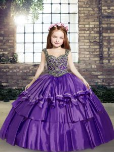 Lavender Kids Pageant Dress Party and Military Ball and Wedding Party with Beading Straps Sleeveless Lace Up