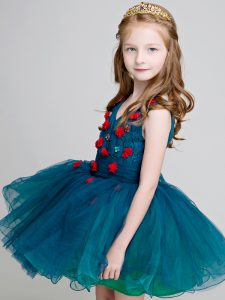 Elegant Teal Organza Zipper Flower Girl Dresses for Less Sleeveless Mini Length Lace and Appliques