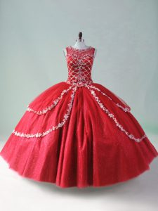 Sleeveless Tulle Floor Length Zipper Sweet 16 Quinceanera Dress in Red with Beading and Appliques