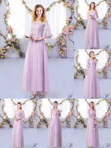 Floor Length Side Zipper Bridesmaids Dress Lavender for Wedding Party with Lace and Belt