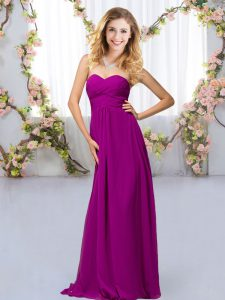 Purple Sleeveless Floor Length Beading Criss Cross Bridesmaid Dresses