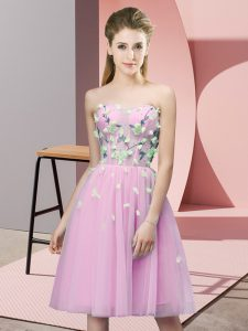 Dynamic Rose Pink Dama Dress Wedding Party with Appliques Sweetheart Sleeveless Lace Up