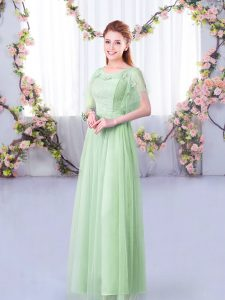 Colorful Lace and Belt Wedding Party Dress Apple Green Side Zipper Short Sleeves Floor Length